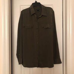 Olive Green Club Monaco Womens Silk Shirt Size S